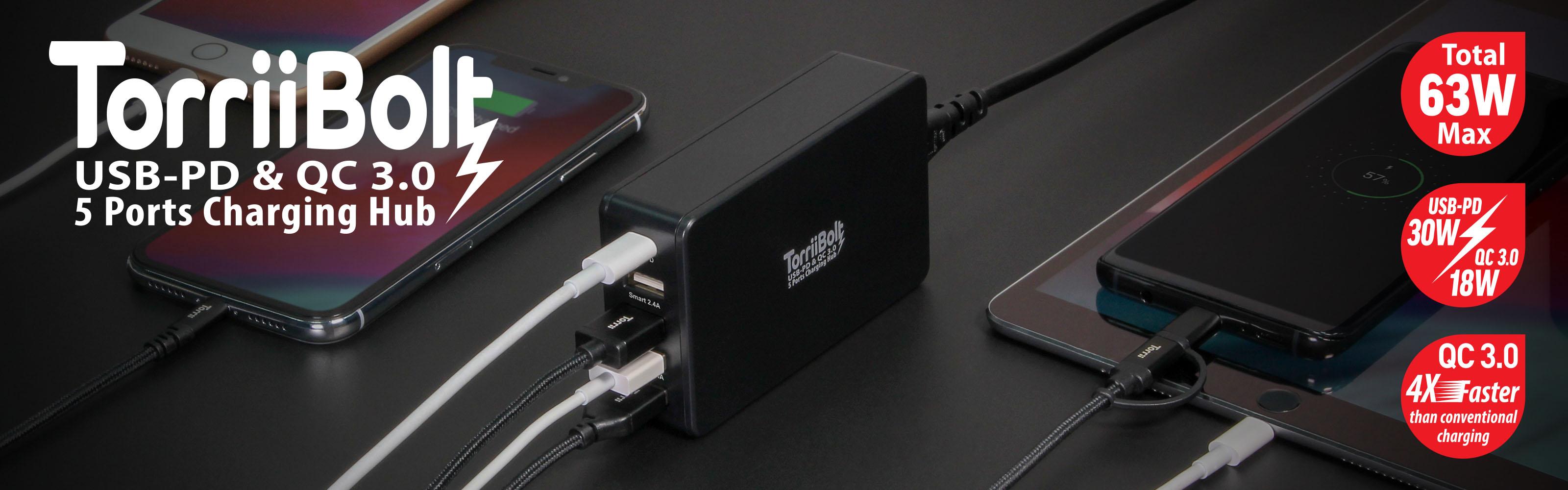 Torrii introduces TorriiBolt USB-PD & QC 3.0 - 5 Ports Charging Hub
