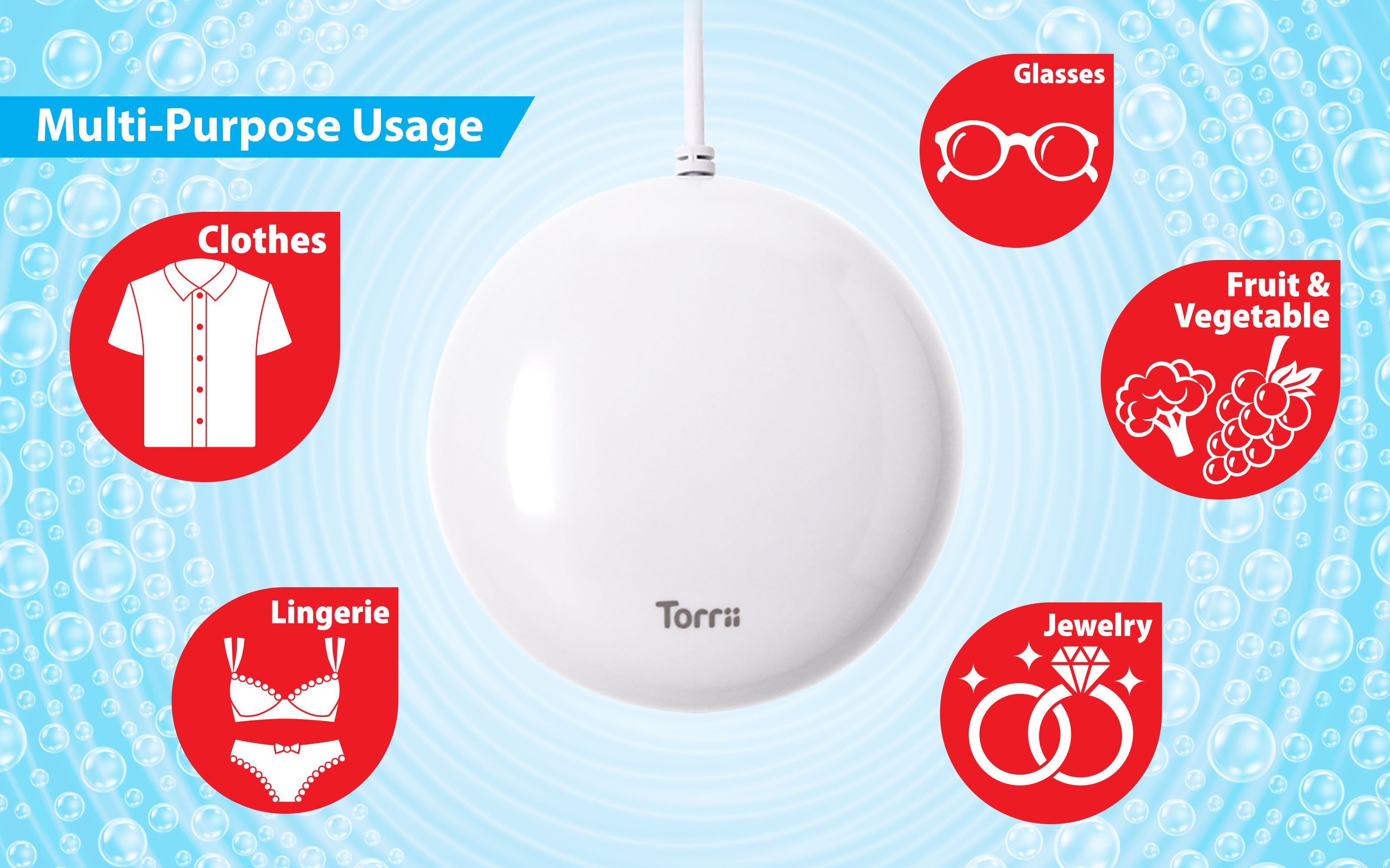 TorriiSonic - Portable Ultrasonic Washing Device